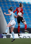 Jade Pennock of Sheffield Utd and Jodie Hutton of Aston Villa during the The FA Women's Championship match at the Proact Stadium, Chesterfield. Picture date: 12th January 2020. Picture credit should read: Simon Bellis/Sportimage