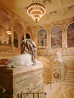 Public Library lions entry staircase,  (McKim =architect,  Puvis de Chavannes murals, St. Gaudens = sculptor) Boston, MA