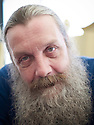 Alan Moore, graphic novelist, magician and  writer  at The Oxford Literary Festival at Christchurch College Oxford  . Credit Geraint Lewis