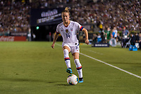 PASADENA, CA - AUGUST 4: Emily Sonnett #14 dribbles during a game between Ireland and USWNT at Rose Bowl on August 3, 2019 in Pasadena, California.
