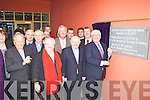 Minister Batt O'Keeffe unveils the plaque at the official opening of Holy Family NS Rathmore on Friday l-r: Bishop Bill Murphy, Fr Larry Kelly, Leila Kelleher, John O'Donoghue TD, Tom Sheahan TD, Fr Pat Horgan, Senator Mark Daly, Diarmuid McCarthy Principal and Minister Batt O'Keeffe.