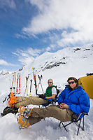 Climbers relax at base camp in the Alaska Range mountains, Interior, Alaska.