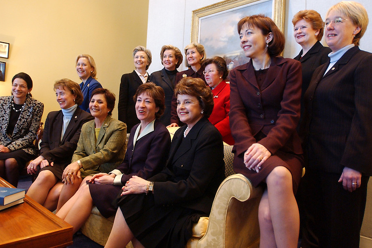 women/010903 -- Women Senators gather for a group photo in the office of Sen. Barbara Mikulski, D-Md.