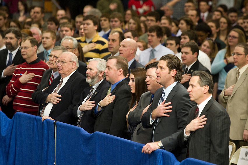 The Pledge of Allegiance prior to President Obama visit to Northern Michigan University February 2011.