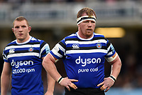 Jacques van Rooyen of Bath Rugby looks on during a break in play. Gallagher Premiership match, between Bath Rugby and Gloucester Rugby on September 8, 2018 at the Recreation Ground in Bath, England. Photo by: Patrick Khachfe / Onside Images