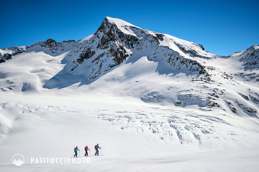 Ski touring above the Rhone Glacier while on a ski tour of the Berner Haute Route, Switzerland