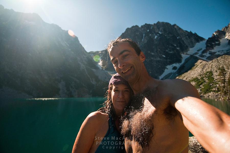 Self portrait with Joy, Colchuck Lake, Alpine Lakes Wilderness, WA.