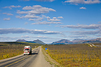 Semi tractor hauling supplies on the James Dalton Highway, Interior, Alaska.