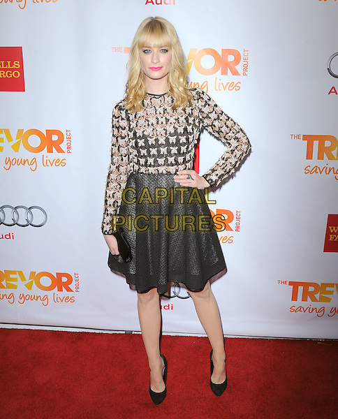 """Beth Behrs.The Trevor Project's """"Trevor Live"""" 2012 held at the Hollywood Palladium, Hollywood, California, USA..December 2nd, 2012.full length top hand on hip skirt beige black white pattern print butterfly butterflies skirt .CAP/RKE/DVS.©DVS/RockinExposures/Capital Pictures."""