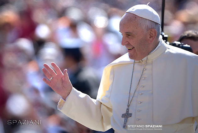 Pope Francis  during his weekly general audience in St. Peter square at the Vatican, Wednesday.May 4 2016.