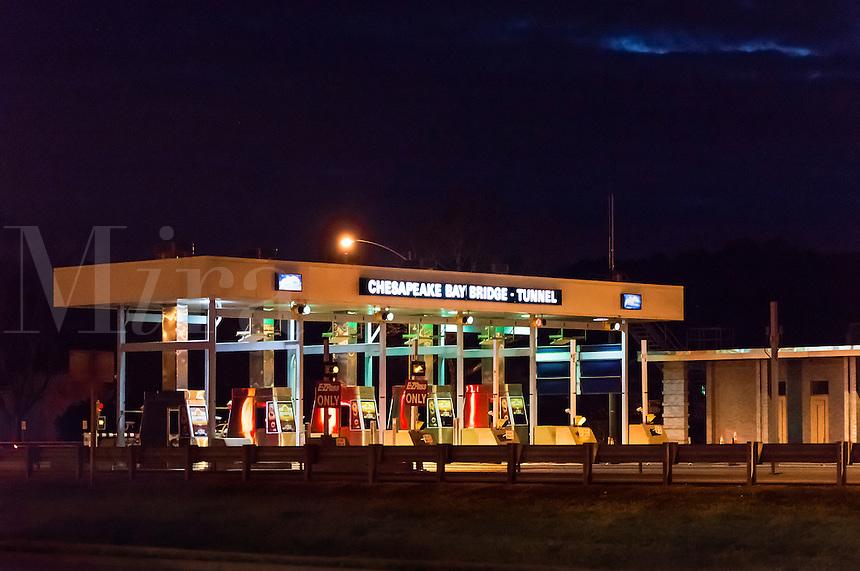 Chesapeake Bay Bridge Tunnel toll booth, Cape Charles, Virginia, USA