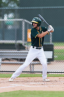 Oakland Athletics first baseman Mickey McDonald (16) at bat during an exhibition game against Team Italy at Lew Wolff Training Complex on October 3, 2018 in Mesa, Arizona. (Zachary Lucy/Four Seam Images)