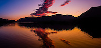 Panoramic view of twilight in Nakwasina Sound, Southeast Alaska USA.