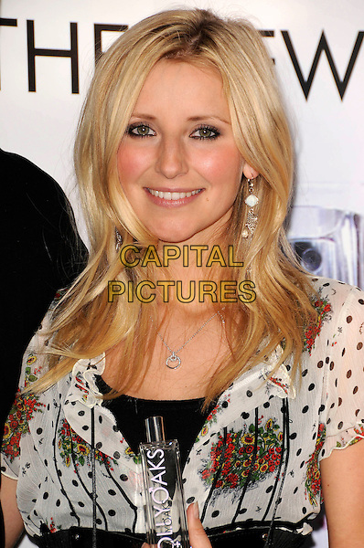 CARLEY STENSON.Attend the launch of the Hollyoaks Perfume at The Eve Club, London, England..September 30th, 2008 .fragrance headshot portrait white black pattern .CAP/CAS.©Bob Cass/Capital Pictures.