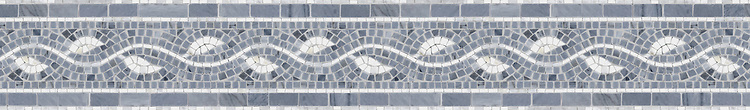 "6"" Baldwin border, a hand-cut mosaic shown in polished Calacatta Tia and Bardiglio by New Ravenna."