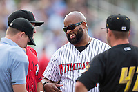 Dr. Richard R. Rolle, Jr. of Rolle Oral and Facial Surgery was the honorary manager for the day prior to the South Atlantic League game between the West Virginia Power and the Kannapolis Intimidators at Kannapolis Intimidators Stadium on June 17, 2017 in Kannapolis, North Carolina.  The Power defeated the Intimidators 6-1.  (Brian Westerholt/Four Seam Images)