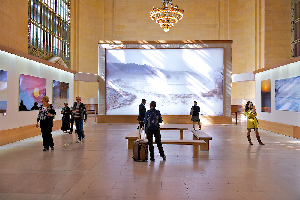Ahae photo exhibition installed by Duggal Visual Solutions at Vanderbilt Hall, Grand Central Terminal