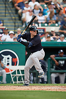 New York Yankees right fielder Matt Lipka (96) at bat during a Grapefruit League Spring Training game against the Detroit Tigers on February 27, 2019 at Publix Field at Joker Marchant Stadium in Lakeland, Florida.  Yankees defeated the Tigers 10-4 as the game was called after the sixth inning due to rain.  (Mike Janes/Four Seam Images)