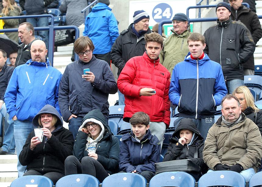Preston North End's Fans<br /> <br /> Photographer Mick Walker/CameraSport<br /> <br /> Football - The Football League Sky Bet League One - Preston North End v Rochdale -  Friday 3rd April 2015 - Deepdale - Preston<br /> <br /> &copy; CameraSport - 43 Linden Ave. Countesthorpe. Leicester. England. LE8 5PG - Tel: +44 (0) 116 277 4147 - admin@camerasport.com - www.camerasport.com