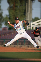 Jordan Piche (17) of the Inland Empire 66ers pitches against the Lake Elsinore Storm at San Manuel Stadium on July 31, 2016 in San Bernardino, California. Inland Empire defeated Lake Elsinore, 8-7. (Larry Goren/Four Seam Images)