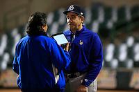 Eddie Diaz manager de Yaquis ,durante primer  juego de la serie de beisbol entre Yaquis de Obregon vs Naranjeros de Hermosillo de la Liga Mexicana del Pacifico en Estadio Sonora.<br /> Hermosillo Sonora  27 diciembre 2014. <br /> (CreditoFoto:Luis Gutierrez)