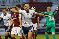 Dan Rowe of Wycombe Wanderers celebrates scoring the opening goal during The Checkatrade Trophy match between Northampton Town and Wycombe Wanderers at Sixfields Stadium, Northampton, England on 30 August 2016. Photo by David Horn / PRiME Media Images.