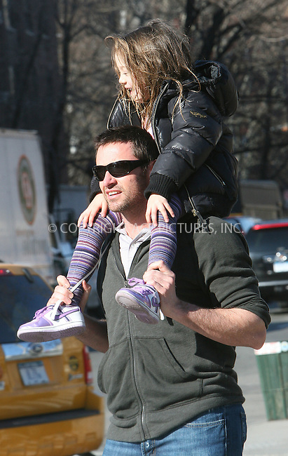 WWW.ACEPIXS.COM . . . . .  ....March 8 2010, New York City....Actor Hugh Jackman picked up his daughter Ava from her school in Soho on March 8 2010 in New York City....Please byline: NANCY RIVERA- ACE PICTURES.... *** ***..Ace Pictures, Inc:  ..tel: (212) 243 8787 or (646) 769 0430..e-mail: info@acepixs.com..web: http://www.acepixs.com