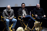 LOS ANGELES - JANUARY 10: (L-R) Writer/producers Darin Morgan and Jim Wong, and Executive Producer Glen Morgan attend the 20th Century Fox Television 2018 Winter TCA studio day for 'The X-Files' on the Fox Studio Lot on January 10, 2018 in Los Angeles, California. (Photo by Frank Micelotta/Fox/PictureGroup)