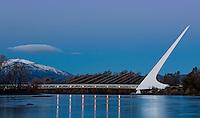 In Redding, California the famed architect Santiago Calatrava designed the Sundial Bridge for pedestrians across the Sacramento River.
