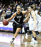 SIOUX FALLS, SD - MARCH 3:  Taylor Varsho #3 from the University of Sioux Falls drives past Rachel Hansen #11 from Concordia St. Paul in the second half of their semifinal game of the NSIC Tournament Monday night at the Sanford Pentagon. (Photo by Dave Eggen/Inertia)