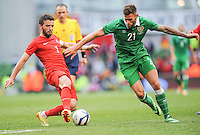 25h May 2014; Turkey's Gokhan Gonul with Daryl Murphy of Ireland. International Friendly, Republic of Ireland v Turkey, Aviva Stadium, Dublin. Picture credit: Tommy Grealy/actionshots.ie.