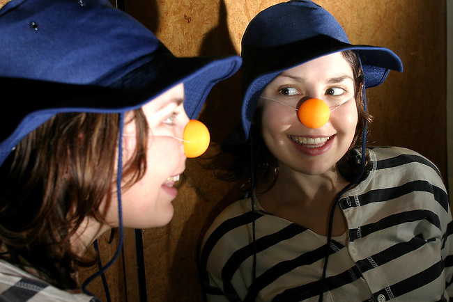 15/07/07 SW. Kate Wright gets familiar with her alter-ego - the clown Molly - at Te Whaea during clown school. .Photo: Crispin Anderlini