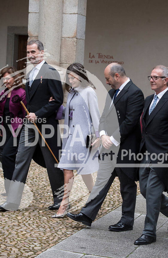 Kings of Spain, King Felipe VI of Spain and Queen Letizia of Spain delivers the Cervantes prize for literature in Spanish to the Uruguayan writer Ida Vitale at the Paraninfo of the Alcala University in the World Heritage City of Alcala de Henares near Madrid on April 23, 2019.<br /> From  L-R: Vice Prime Minister of Spain Carmen Calvo, King Felipe VI of Spain, Queen Letizia of Spain, Acting President of Madrid community Pedro Rollan Spanish Culture Minister Jose Guirau