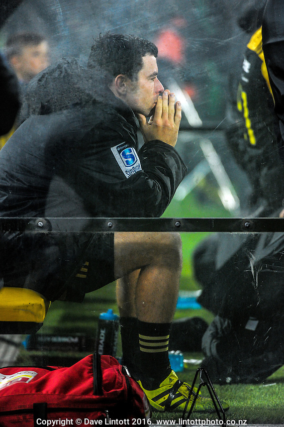 James Marshall sits on the bench during the Super Rugby match between the Hurricanes and Southern Kings at Westpac Stadium, Wellington, New Zealand on Friday, 25 March 2016. Photo: Dave Lintott / lintottphoto.co.nz