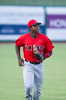 AZL Angels left fielder Johan Sala (5) jogs to the dugout after recording the third out during a game against the AZL Giants on July 10, 2017 at Scottsdale Stadium in Scottsdale, Arizona. AZL Giants defeated the AZL Angels 3-2. (Zachary Lucy/Four Seam Images)