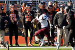 WATERTOWN, CT-112317JS10- Torrington's Dylan Myrie (8) runs down the sideline for a big gain and a first down during their Thanksgiving Day game against Watertown Thursday at Watertown High School. <br /> Jim Shannon Republican-American
