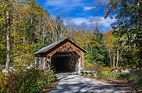 Charming Brown Covered Bridge, Cuttingsville, Vermont, USA.