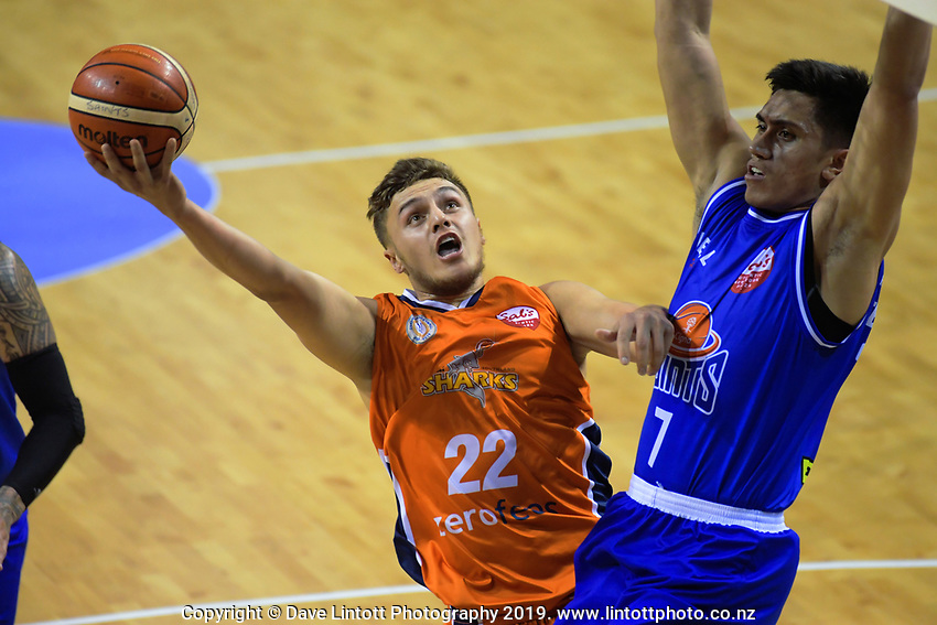 Hyrum Harris (Sharks) in action during the national basketball league match between Cigna Wellington Saints and Southland Sharks at TSB Bank Arena in Wellington, New Zealand on Thursday, 25 April 2019. Photo: Dave Lintott / lintottphoto.co.nz
