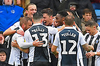 Alex Lacey of Gillingham middle is mobbed after scoring the second goal during Portsmouth vs Gillingham, Sky Bet EFL League 1 Football at Fratton Park on 6th October 2018