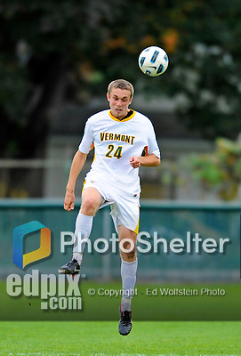12 October 2011: University of Vermont Catamount Midfielder Brad Cole, a Sophomore from South Burlington, VT, in action against the Boston University Terriers at Centennial Field in Burlington, Vermont. The Catamounts were edged out 1-0 by the visiting Terriers. Mandatory Credit: Ed Wolfstein Photo