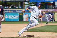 South Bend Cubs designated hitter P.J. Higgins (7) running the bases during the first game of a doubleheader against the Peoria Chiefs on July 25, 2016 at Four Winds Field in South Bend, Indiana.  South Bend defeated Peoria 9-8.  (Mike Janes/Four Seam Images)