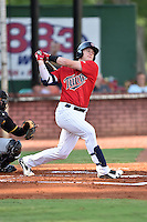 Elizabethton Twins second baseman Travis Blakenhorn (7) swings at a pitch during a game against the Bristol Pirates at Joe O'Brien Field on July 30, 2016 in Elizabethton, Tennessee. The Twins defeated the Pirates 6-3. (Tony Farlow/Four Seam Images)
