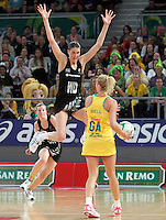 16.09.2012 Silver Ferns Anna Harrison and Australian Erin Bell in action during the first netball test match between the Silver Ferns and the Australian Diamonds played at the Hisense Arena In Melbourne. Mandatory Photo Credit ©Michael Bradley.
