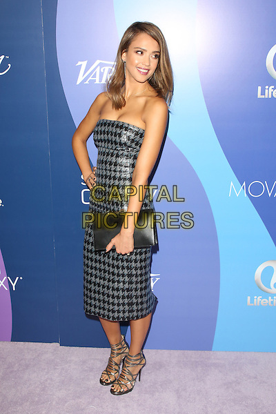 Jessica Alba<br /> at Variety's 5th Annual Power of Women event presented by Lifetime at the Beverly Wilshire Four Seasons Hotel in Beverly Hills, California, USA, October 4th 2013.<br /> full length strapless black grey gray silver houndstooth print dress shiny blue clutch bag strappy shoes sandals hand on hip <br /> CAP/MPI/mpi25<br /> &copy;mpi25/MediaPunch/Capital Pictures