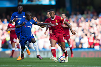 Liverpool's Georginio Wijnaldum holds off the challenge from Chelsea's Ngolo Kante <br /> <br /> Photographer Craig Mercer/CameraSport<br /> <br /> The Premier League - Chelsea v Liverpool - Sunday 6th May 2018 - Stamford Bridge - London<br /> <br /> World Copyright &copy; 2018 CameraSport. All rights reserved. 43 Linden Ave. Countesthorpe. Leicester. England. LE8 5PG - Tel: +44 (0) 116 277 4147 - admin@camerasport.com - www.camerasport.com