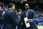 DURHAM, NC - JANUARY 29: Notre Dame assistant coach Ryan Humphrey. The Duke University Blue Devils hosted the University of Notre Dame Fighting Irish on January 29, 2018 at Cameron Indoor Stadium in Durham, NC in a Division I men's college basketball game. Duke won the game 88-66.