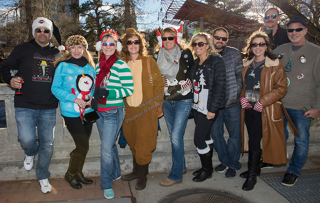 A photograph taken during the Ugly Sweater Wine Walk in downtown  Reno on Saturday, Dec. 16, 2017.