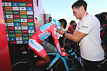 Red Jersey Nairo Quintana (COL) Movistar Team cools down having lost the race lead at the end of Stage 10 of La Vuelta 2019 an individual time trial running 36.2km from Jurancon to Pau, France. 3rd September 2019.<br /> Picture: Luis Angel Gomez/Photogomezsport | Cyclefile<br /> <br /> All photos usage must carry mandatory copyright credit (© Cyclefile | Luis Angel Gomez/Photogomezsport)