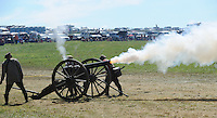 NWA Democrat-Gazette/ANDY SHUPE<br /> A cannon is fired Saturday, Sept. 26, 2015, during a re-enactment of the Civil War Battle of Pea Ridge in Pea Ridge. Visit nwadg.com/photos to see more photos from the weekend.