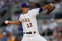 LSU Tigers starting pitcher Kevin Gausman #12 delivers against the Mississippi State Bulldogs during the NCAA baseball game on March 16, 2012 at Alex Box Stadium in Baton Rouge, Louisiana. LSU defeated Mississippi State 3-2 in 10 innings. (Andrew Woolley / Four Seam Images)